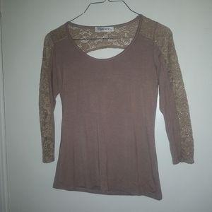 NWOT 3/4 Sleeve Half-Lace Top